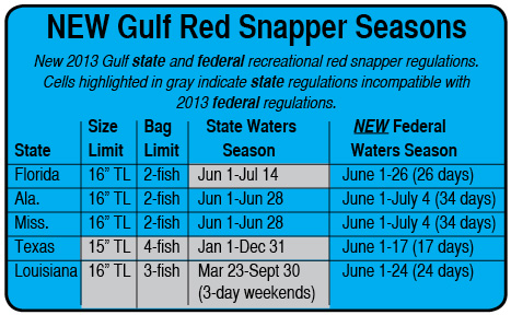 Feds extend florida s gulf red snapper season by 5 days in for Texas fishing bag limits